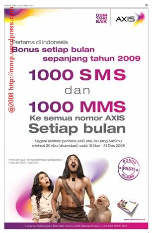 iklan axis versi Tarzan, Jane dan monyet
